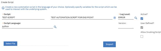 Define the automation script screenshot